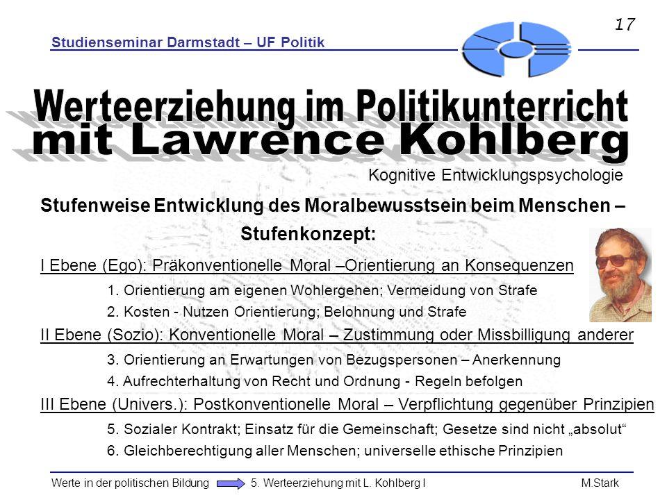 Studienseminar Darmstadt – UF Politik Werte in der politischen Bildung 5. Werteerziehung mit L. Kohlberg I M.Stark Stufenweise Entwicklung des Moralbe