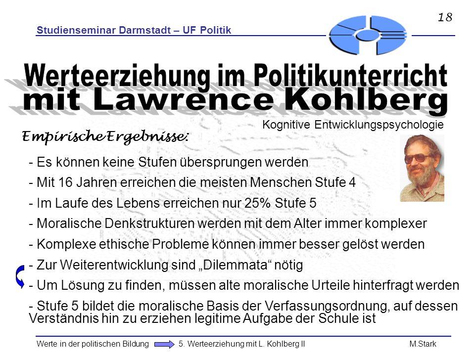 Studienseminar Darmstadt – UF Politik Werte in der politischen Bildung 5. Werteerziehung mit L. Kohlberg II M.Stark - Es können keine Stufen übersprun
