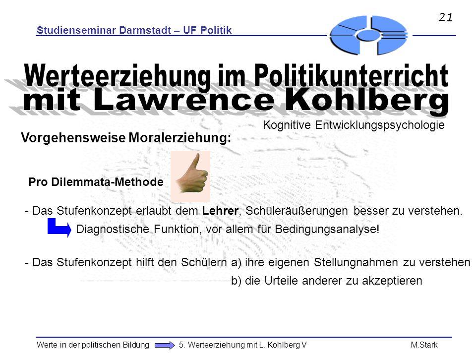 Studienseminar Darmstadt – UF Politik Werte in der politischen Bildung 5. Werteerziehung mit L. Kohlberg V M.Stark Pro Dilemmata-Methode - Das Stufenk