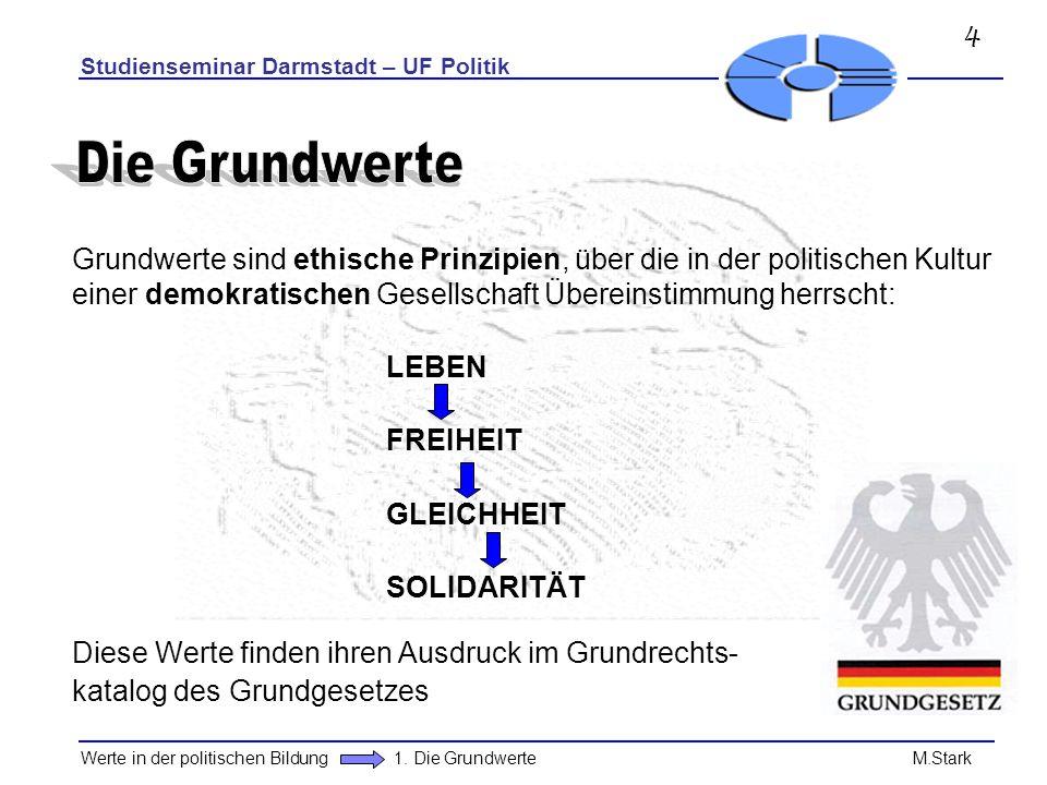 Studienseminar Darmstadt – UF Politik Werte in der politischen Bildung 1. Die Grundwerte M.Stark Grundwerte sind ethische Prinzipien, über die in der