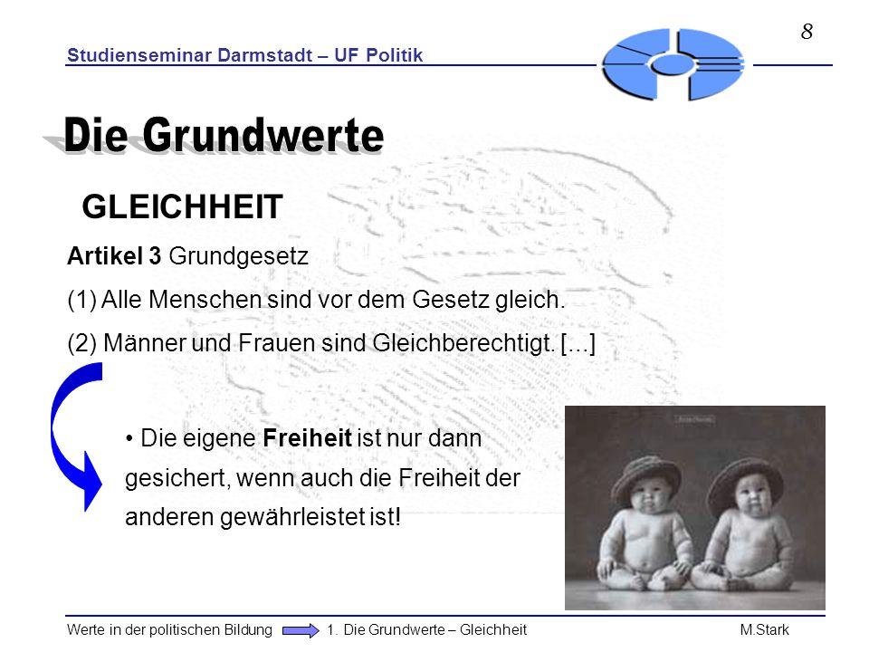 Studienseminar Darmstadt – UF Politik Werte in der politischen Bildung 1. Die Grundwerte – Gleichheit M.Stark GLEICHHEIT Artikel 3 Grundgesetz (1) All