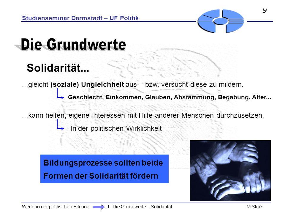 Studienseminar Darmstadt – UF Politik Werte in der politischen Bildung 1. Die Grundwerte – Solidarität M.Stark Solidarität......gleicht (soziale) Ungl