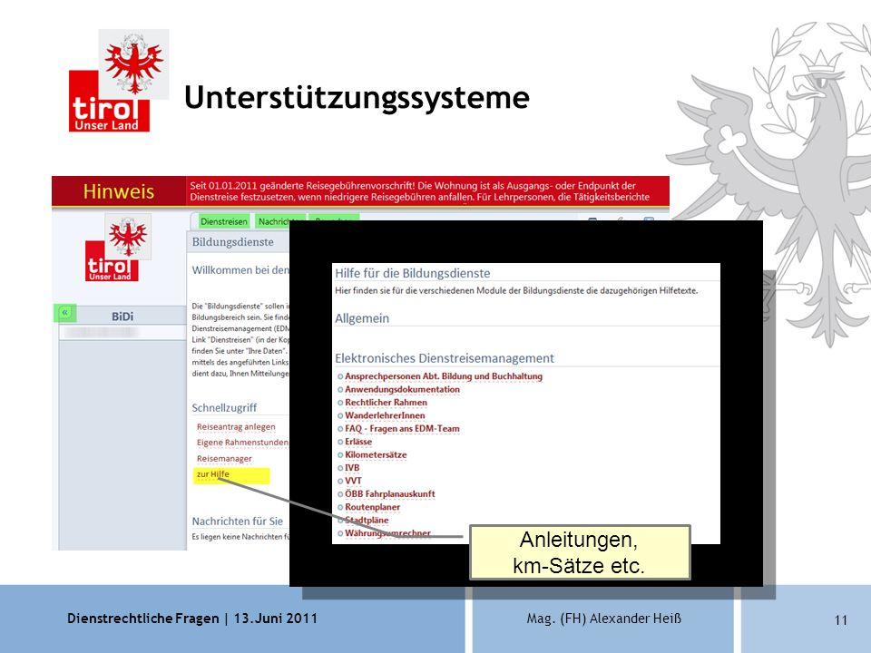 Dienstrechtliche Fragen | 13.Juni 2011Mag. (FH) Alexander Heiß 11 Unterstützungssysteme Wichtige Hinweise Anleitungen, km-Sätze etc.