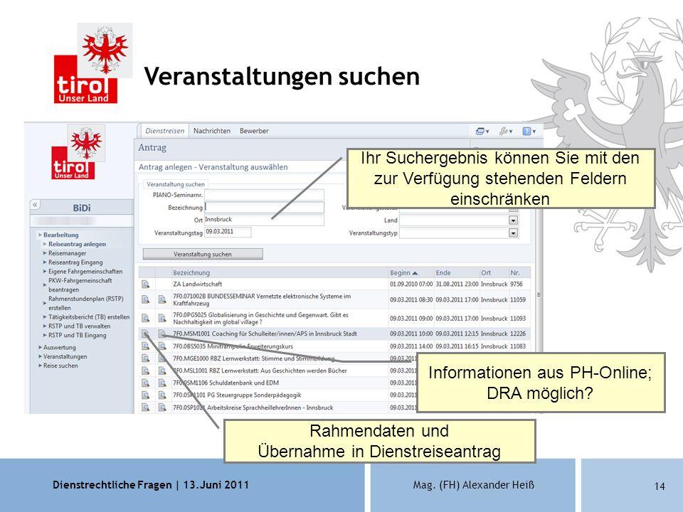 Dienstrechtliche Fragen | 13.Juni 2011Mag. (FH) Alexander Heiß 14 Ihr Suchergebnis können Sie mit den zur Verfügung stehenden Feldern einschränken Rah