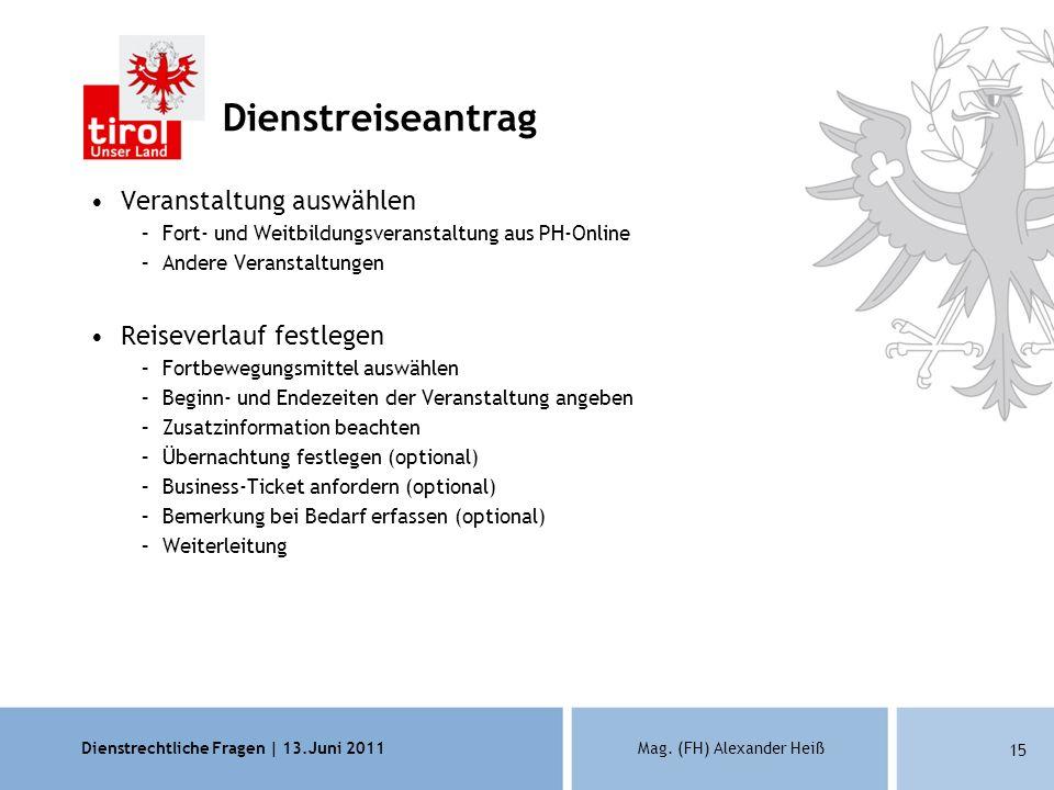 Dienstrechtliche Fragen | 13.Juni 2011Mag. (FH) Alexander Heiß 15 Dienstreiseantrag Veranstaltung auswählen –Fort- und Weitbildungsveranstaltung aus P