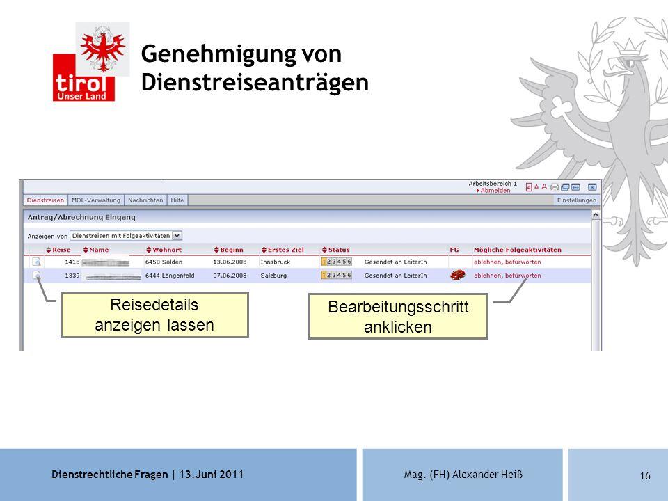 Dienstrechtliche Fragen | 13.Juni 2011Mag. (FH) Alexander Heiß 16 Genehmigung von Dienstreiseanträgen Reisedetails anzeigen lassen Bearbeitungsschritt