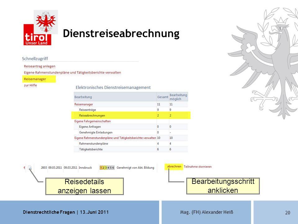 Dienstrechtliche Fragen | 13.Juni 2011Mag. (FH) Alexander Heiß 20 Dienstreiseabrechnung Reisedetails anzeigen lassen Bearbeitungsschritt anklicken