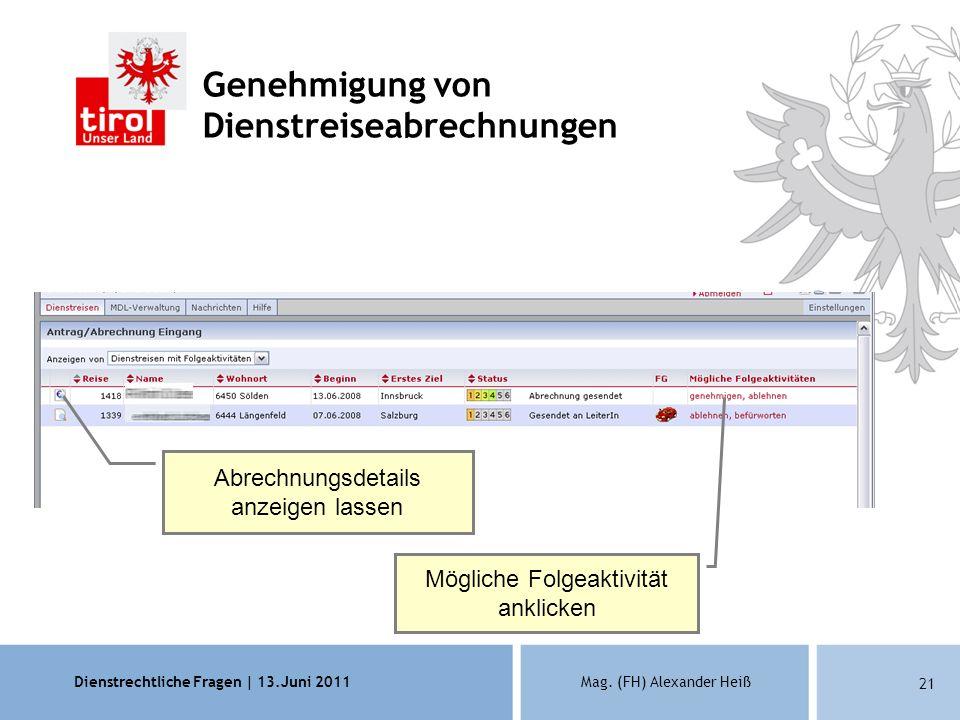 Dienstrechtliche Fragen | 13.Juni 2011Mag. (FH) Alexander Heiß 21 Genehmigung von Dienstreiseabrechnungen Abrechnungsdetails anzeigen lassen Mögliche