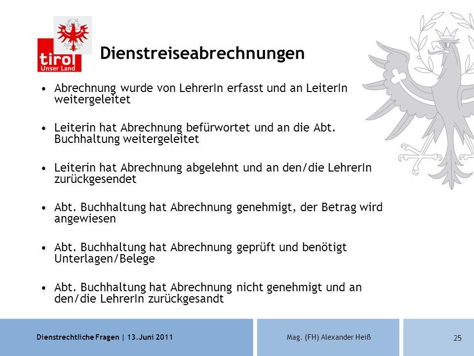 Dienstrechtliche Fragen | 13.Juni 2011Mag. (FH) Alexander Heiß 25 Dienstreiseabrechnungen Abrechnung wurde von LehrerIn erfasst und an LeiterIn weiter