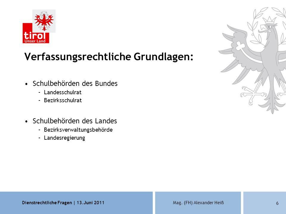 Dienstrechtliche Fragen | 13.Juni 2011Mag.(FH) Alexander Heiß 27 Ansprechpersonen Mag.
