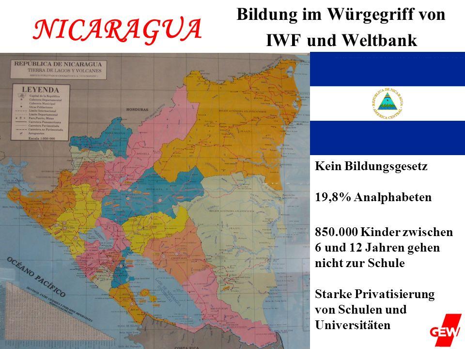 NICARAGUA Bildung im Würgegriff von IWF und Weltbank Kein Bildungsgesetz 19,8% Analphabeten 850.000 Kinder zwischen 6 und 12 Jahren gehen nicht zur Sc