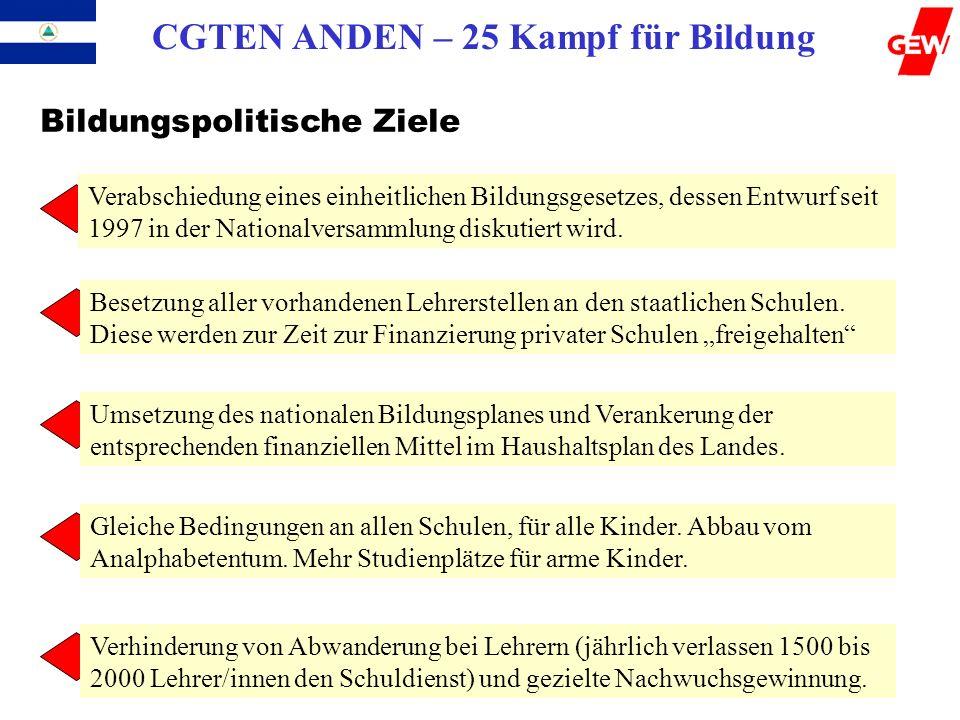 CGTEN ANDEN – 25 Kampf für Bildung Bildungspolitische Ziele Verabschiedung eines einheitlichen Bildungsgesetzes, dessen Entwurf seit 1997 in der Natio