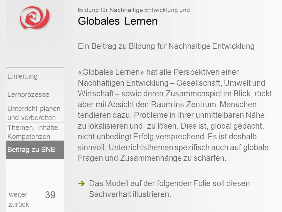 39 Globales Lernen Bildung für Nachhaltige Entwicklung und «Globales Lernen» hat alle Perspektiven einer Nachhaltigen Entwicklung – Gesellschaft, Umwe