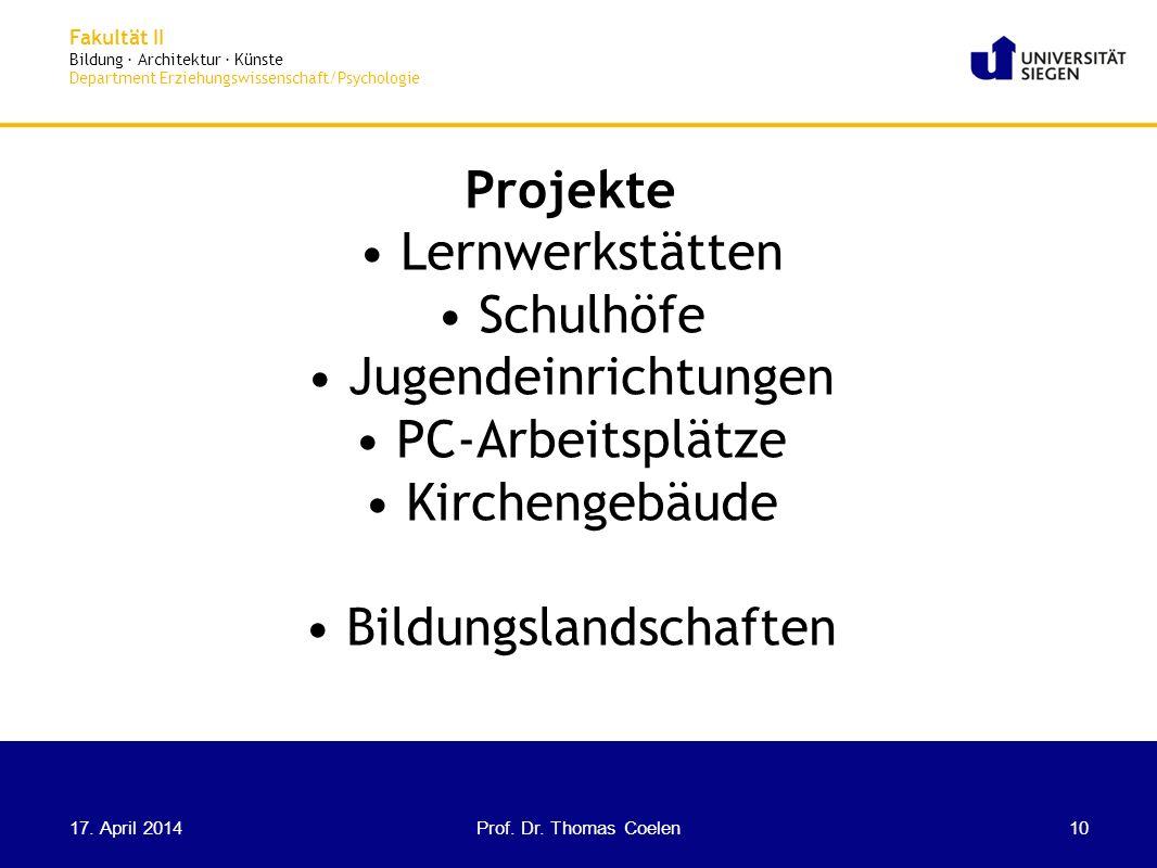 Fakultät II Bildung · Architektur · Künste Department Erziehungswissenschaft/Psychologie Projekte Lernwerkstätten Schulhöfe Jugendeinrichtungen PC-Arb