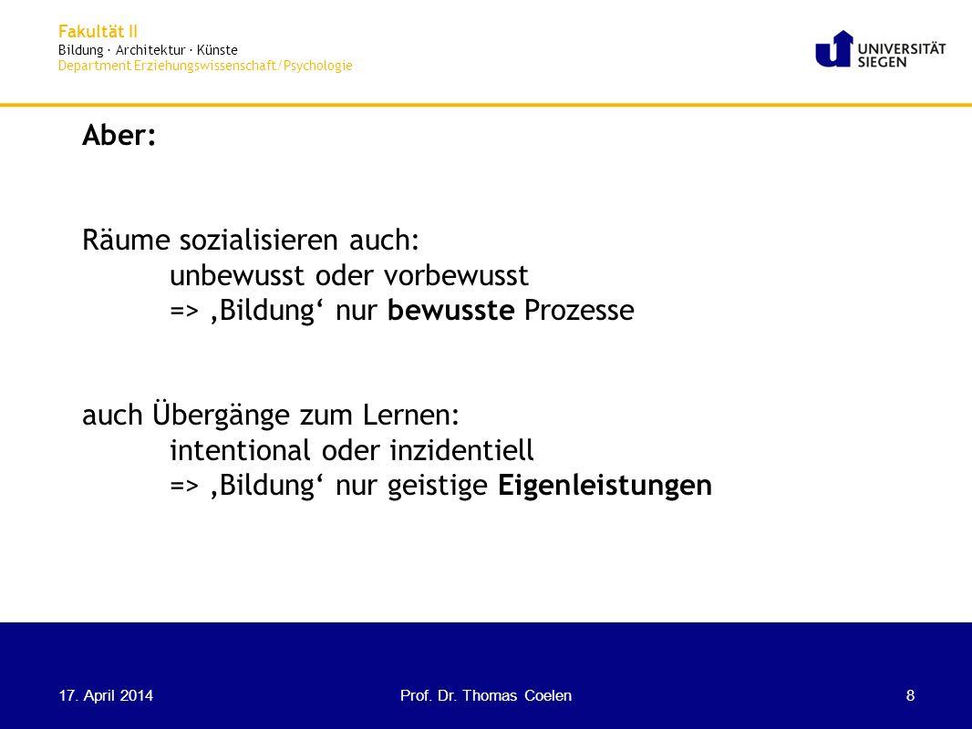 Fakultät II Bildung · Architektur · Künste Department Erziehungswissenschaft/Psychologie Räume: Orte, Gebäude etc.