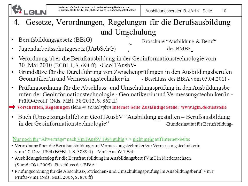 Ausbildungsberater B. JAHN Seite: 10 4.Gesetze, Verordnungen, Regelungen für die Berufsausbildung und Umschulung Berufsbildungsgesetz (BBiG) Jugendarb