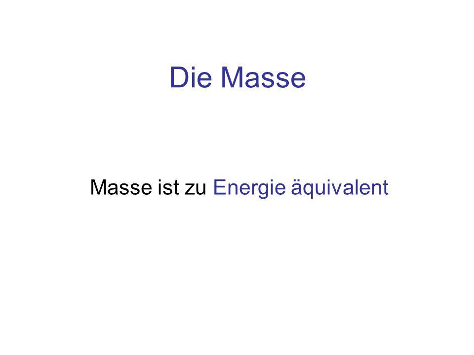 Die Masse Masse ist zu Energie äquivalent