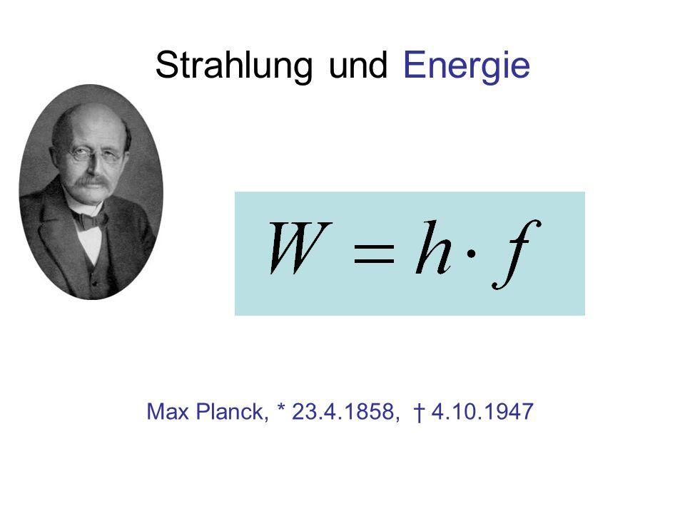 Strahlung und Energie Max Planck, * 23.4.1858, 4.10.1947