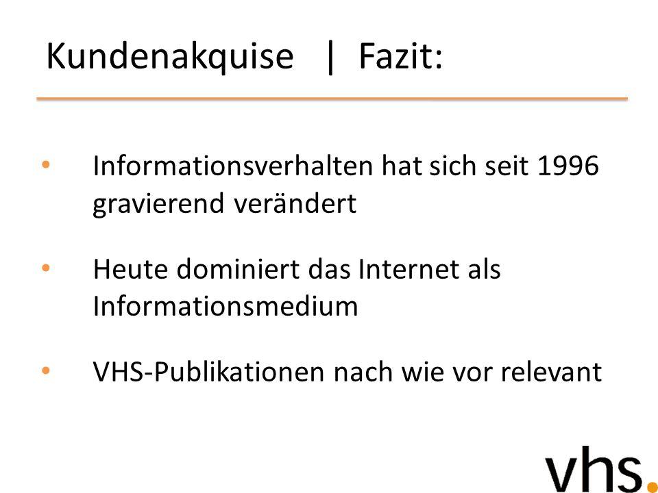 Kundenakquise | Fazit: Informationsverhalten hat sich seit 1996 gravierend verändert Heute dominiert das Internet als Informationsmedium VHS-Publikati