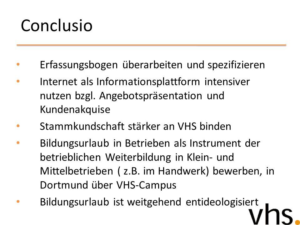 Conclusio Erfassungsbogen überarbeiten und spezifizieren Internet als Informationsplattform intensiver nutzen bzgl. Angebotspräsentation und Kundenakq