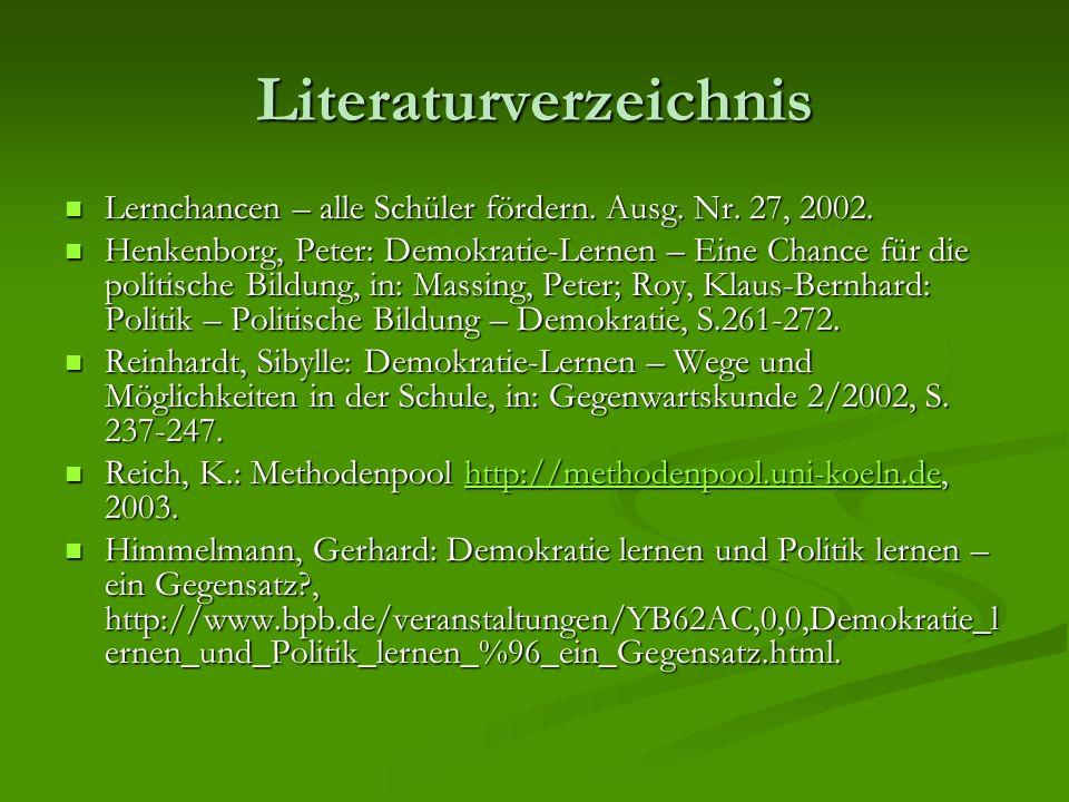 Literaturverzeichnis Lernchancen – alle Schüler fördern. Ausg. Nr. 27, 2002. Lernchancen – alle Schüler fördern. Ausg. Nr. 27, 2002. Henkenborg, Peter