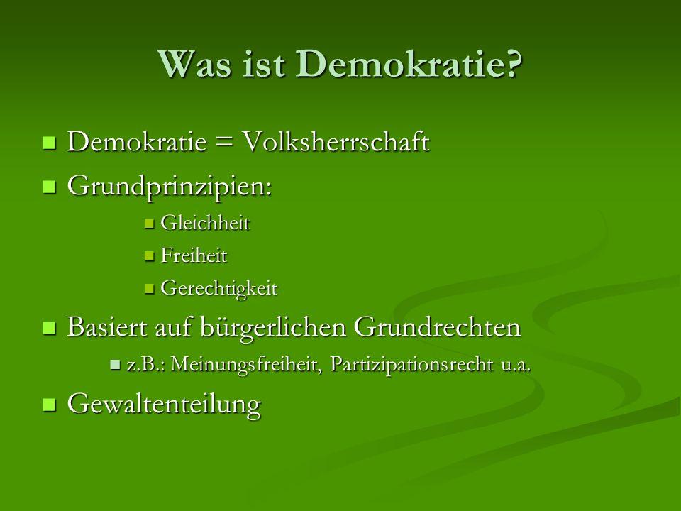 Was ist Demokratie? Demokratie = Volksherrschaft Demokratie = Volksherrschaft Grundprinzipien: Grundprinzipien: Gleichheit Gleichheit Freiheit Freihei