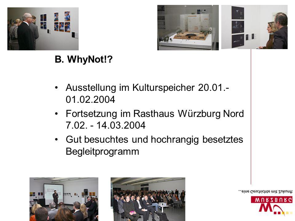 Ausstellung im Kulturspeicher 20.01.- 01.02.2004 Fortsetzung im Rasthaus Würzburg Nord 7.02. - 14.03.2004 Gut besuchtes und hochrangig besetztes Begle