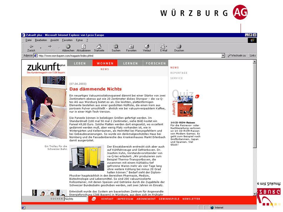 G. Öffentlichkeitsarbeit z.B. Beiträge in Fachzeitschriften über Würzburg und seine innovativen Unternehmen