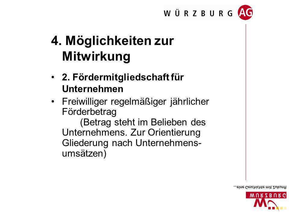 4. Möglichkeiten zur Mitwirkung 2. Fördermitgliedschaft für Unternehmen Freiwilliger regelmäßiger jährlicher Förderbetrag (Betrag steht im Belieben de