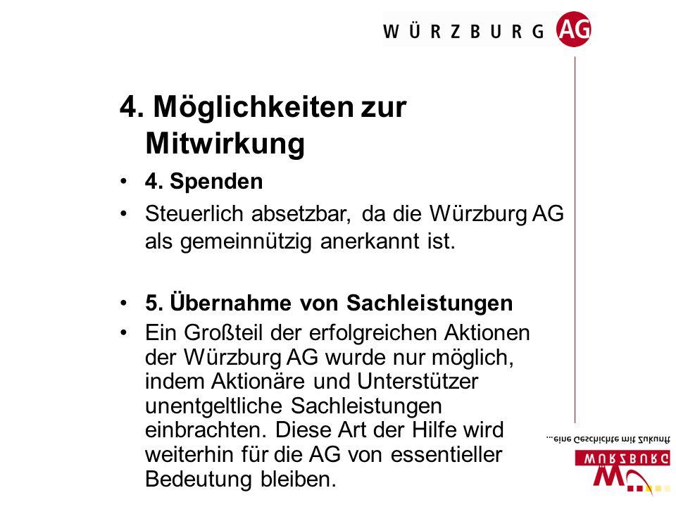 4. Möglichkeiten zur Mitwirkung 4. Spenden Steuerlich absetzbar, da die Würzburg AG als gemeinnützig anerkannt ist. 5. Übernahme von Sachleistungen Ei