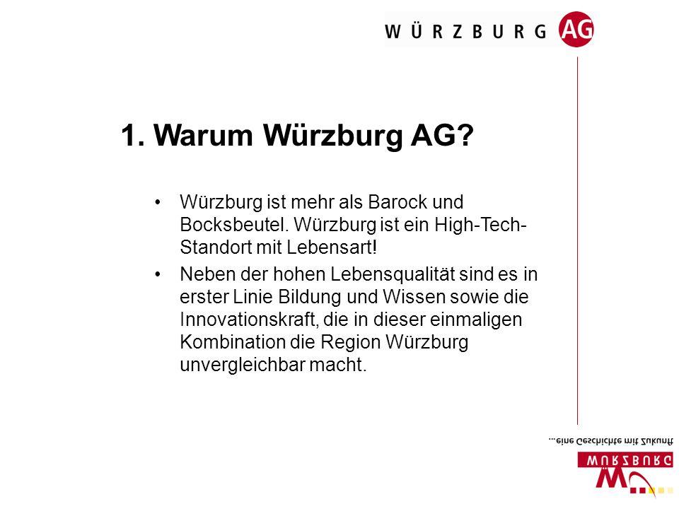 1. Warum Würzburg AG? Würzburg ist mehr als Barock und Bocksbeutel. Würzburg ist ein High-Tech- Standort mit Lebensart! Neben der hohen Lebensqualität