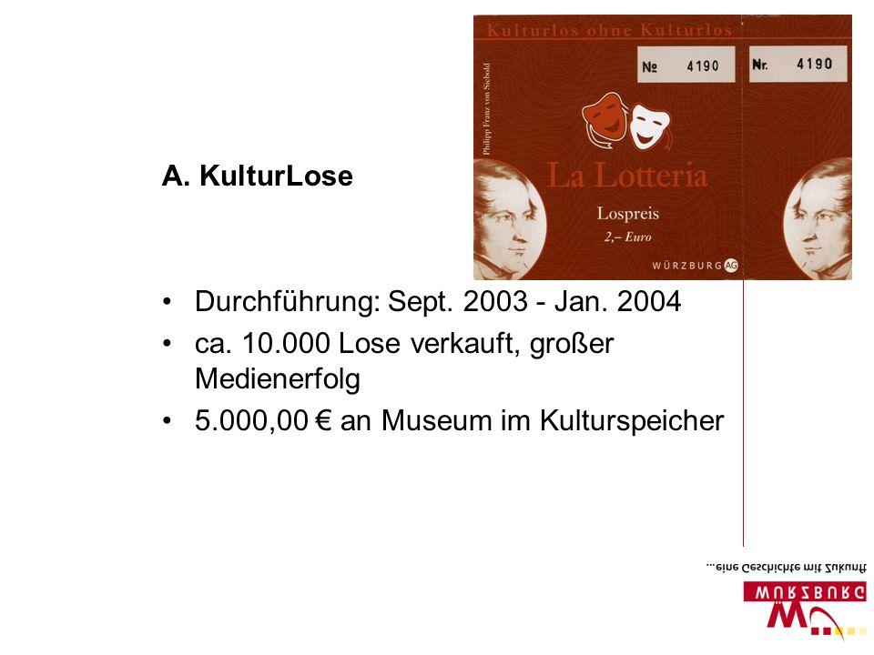 A. KulturLose Durchführung: Sept. 2003 - Jan. 2004 ca. 10.000 Lose verkauft, großer Medienerfolg 5.000,00 an Museum im Kulturspeicher
