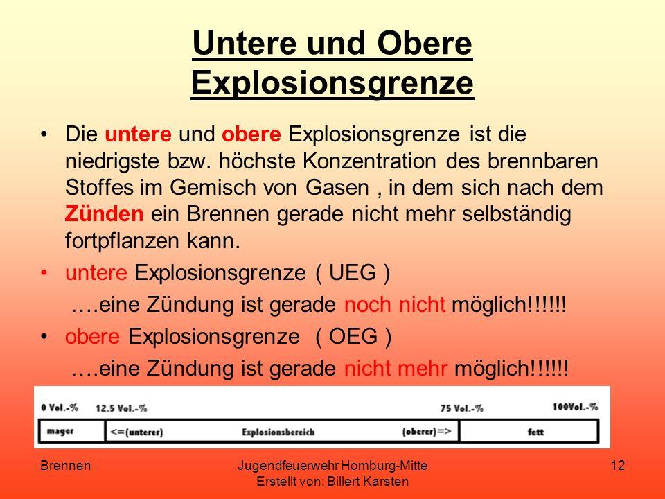 BrennenJugendfeuerwehr Homburg-Mitte Erstellt von: Billert Karsten 11 Explosion Eine Explosion ist eine plötzlich, äußerst schnell verlaufende Zerfall