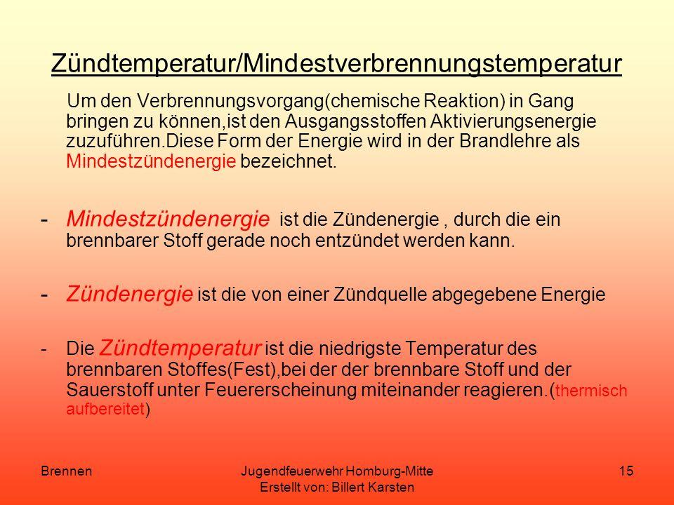 BrennenJugendfeuerwehr Homburg-Mitte Erstellt von: Billert Karsten 14 Flammpunkt Der Flammpunkt ist die niedrigste Flüssigkeitstemperatur bei der sich