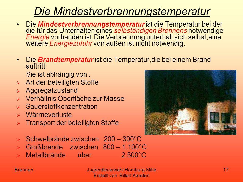 BrennenJugendfeuerwehr Homburg-Mitte Erstellt von: Billert Karsten 16 Energiekreislauf der Verbrennung B R E N E N E N T Z Ü N D E N Zündenergie Aktiv