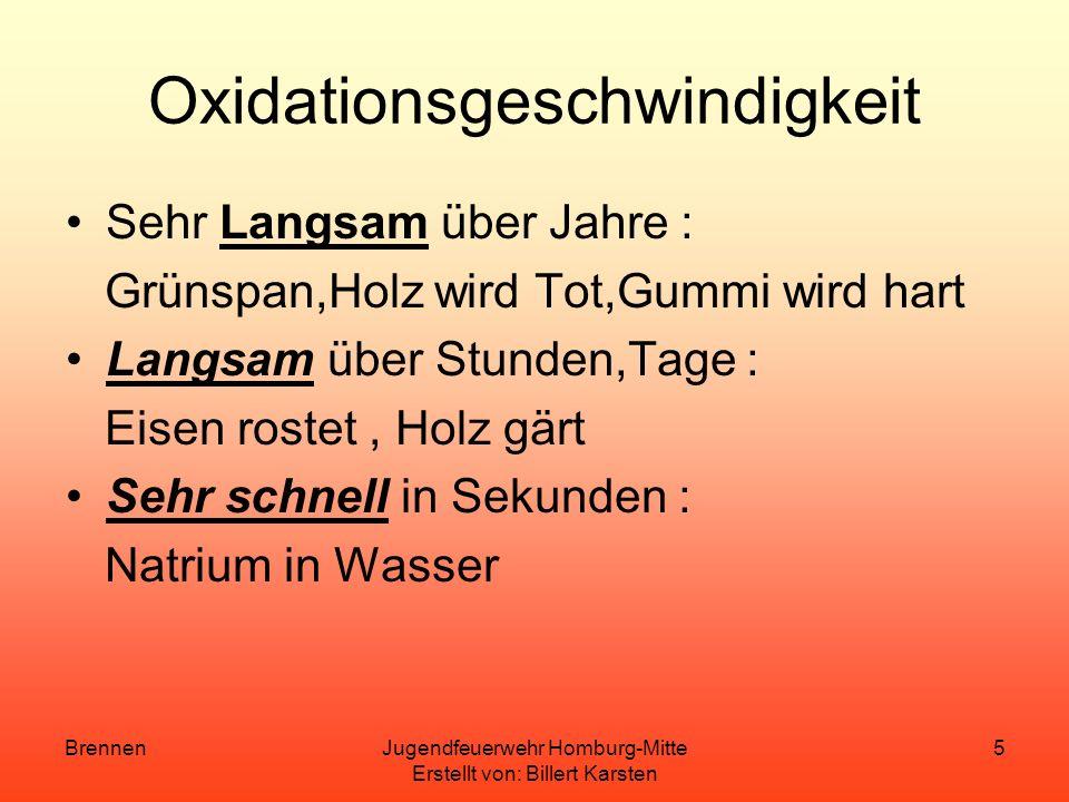 BrennenJugendfeuerwehr Homburg-Mitte Erstellt von: Billert Karsten 4 Der chemische Vorgang ist hier also die Exotherme Reaktion(Wärmeentwicklung)eines
