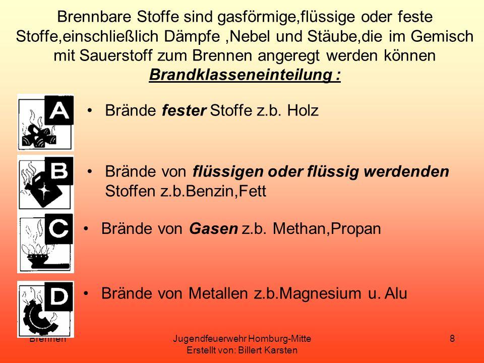 BrennenJugendfeuerwehr Homburg-Mitte Erstellt von: Billert Karsten 7 Voraussetzungen der Verbrennung Brennbarer Stoff Sauerstoff Mengenverhältnis Zünd