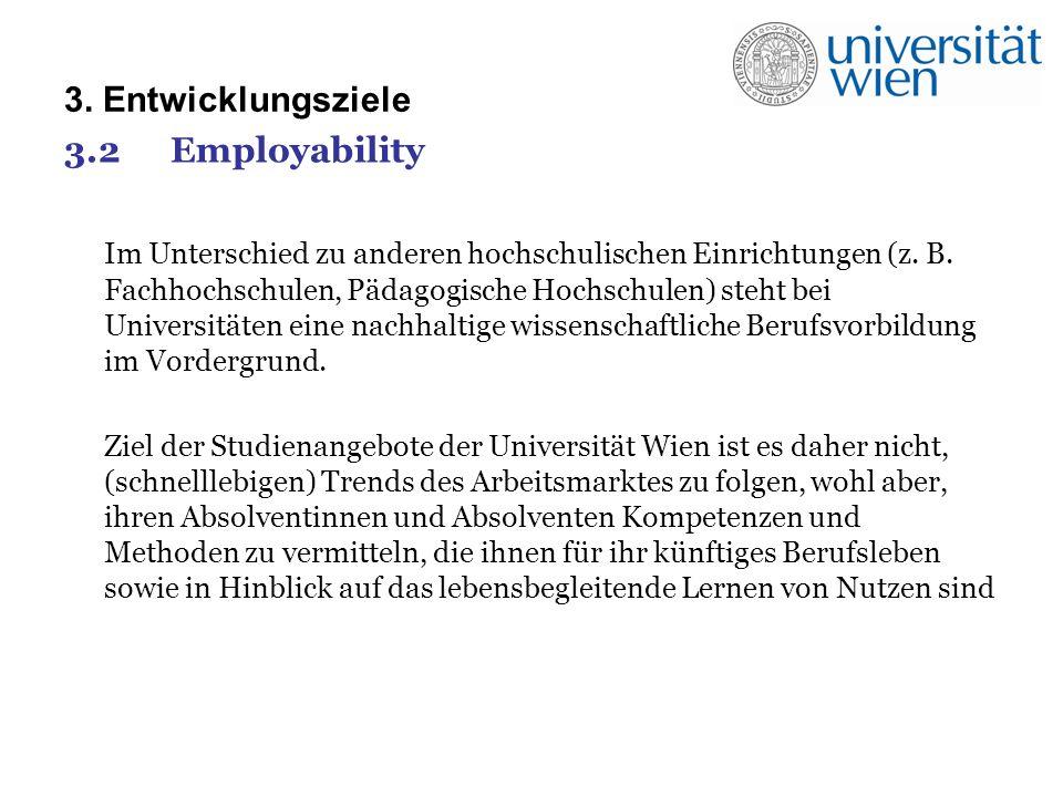 3. Entwicklungsziele 3.2Employability Im Unterschied zu anderen hochschulischen Einrichtungen (z.