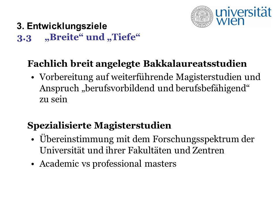 3. Entwicklungsziele 3.3Breite und Tiefe Fachlich breit angelegte Bakkalaureatsstudien Vorbereitung auf weiterführende Magisterstudien und Anspruch be