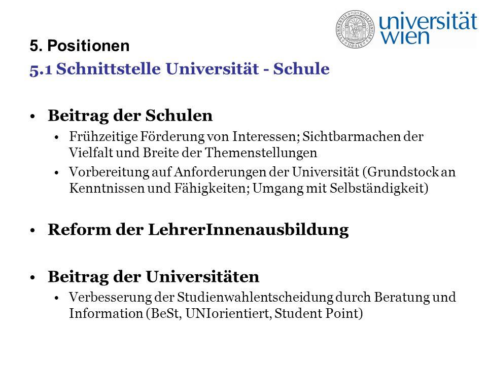 5. Positionen 5.1 Schnittstelle Universität - Schule Beitrag der Schulen Frühzeitige Förderung von Interessen; Sichtbarmachen der Vielfalt und Breite