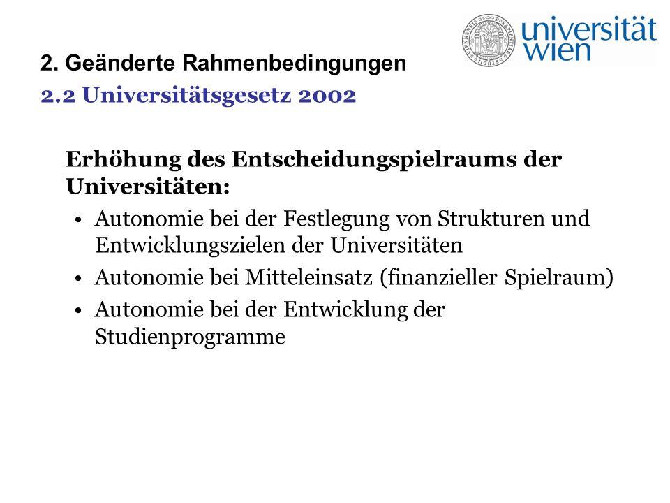 2. Geänderte Rahmenbedingungen 2.2 Universitätsgesetz 2002 Erhöhung des Entscheidungspielraums der Universitäten: Autonomie bei der Festlegung von Str