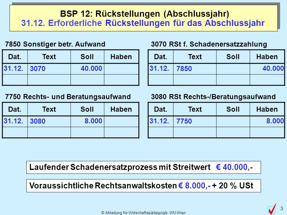 © Abteilung für Wirtschaftspädagogik, WU-Wien 3 31.12. Erforderliche Rückstellungen für das Abschlussjahr Laufender Schadenersatzprozess mit Streitwer