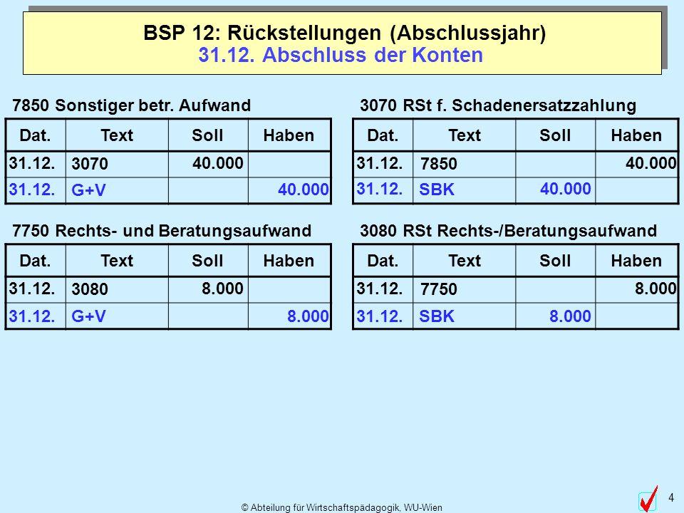 © Abteilung für Wirtschaftspädagogik, WU-Wien 4 31.12. Abschluss der Konten BSP 12: Rückstellungen (Abschlussjahr) 3080 RSt Rechts-/Beratungsaufwand D