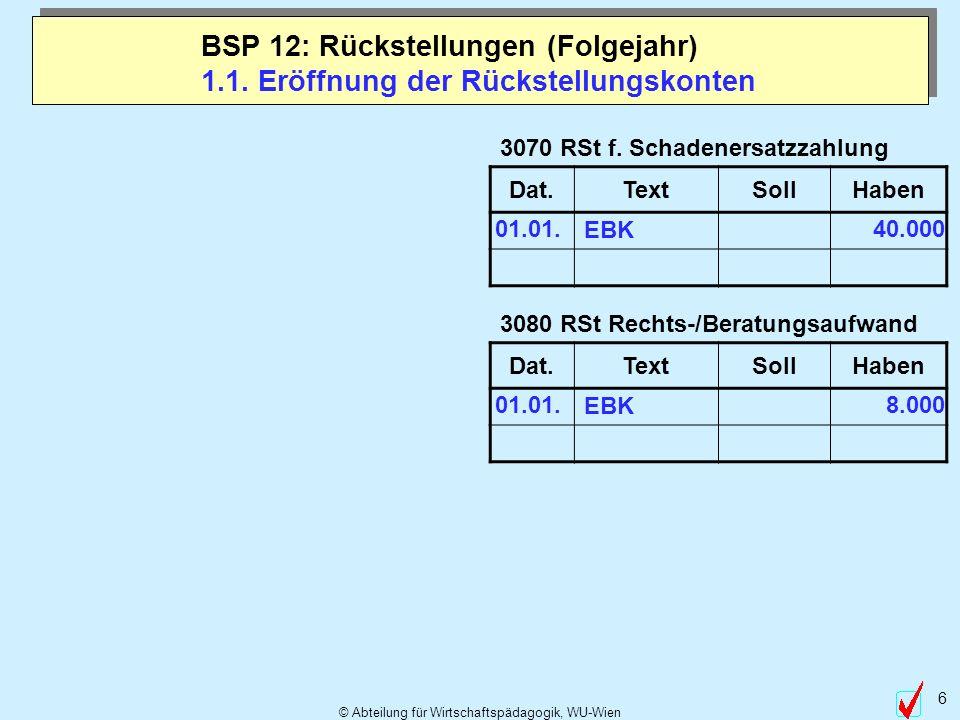 © Abteilung für Wirtschaftspädagogik, WU-Wien 6 1.1. Eröffnung der Rückstellungskonten BSP 12: Rückstellungen (Folgejahr) 3080 RSt Rechts-/Beratungsau