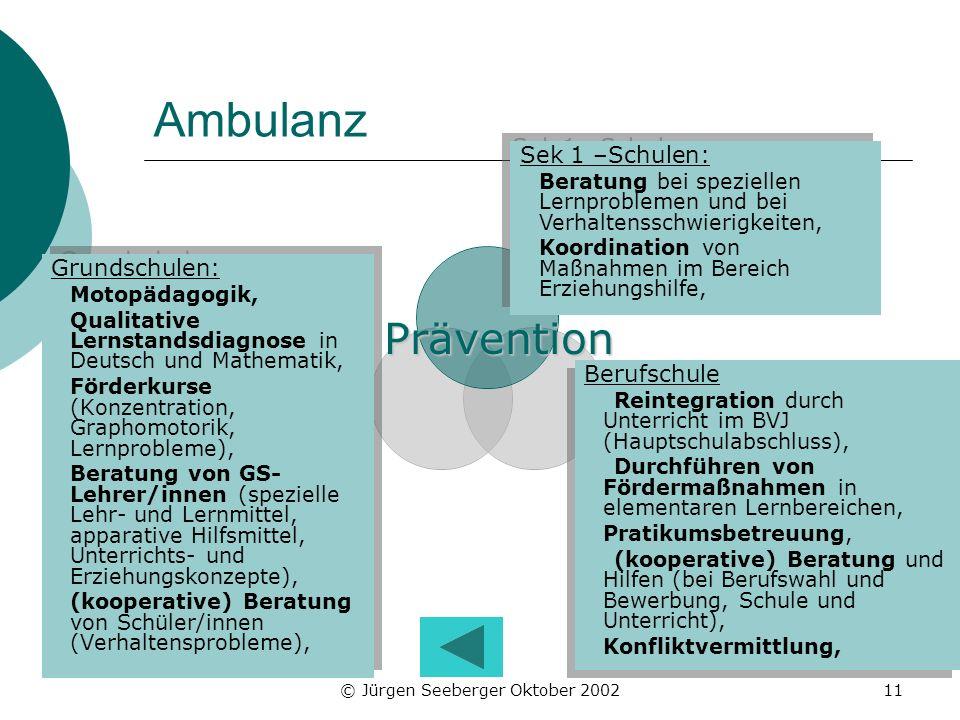 © Jürgen Seeberger Oktober 200211 Ambulanz Grundschulen: Motopädagogik, Qualitative Lernstandsdiagnose in Deutsch und Mathematik, Förderkurse (Konzent