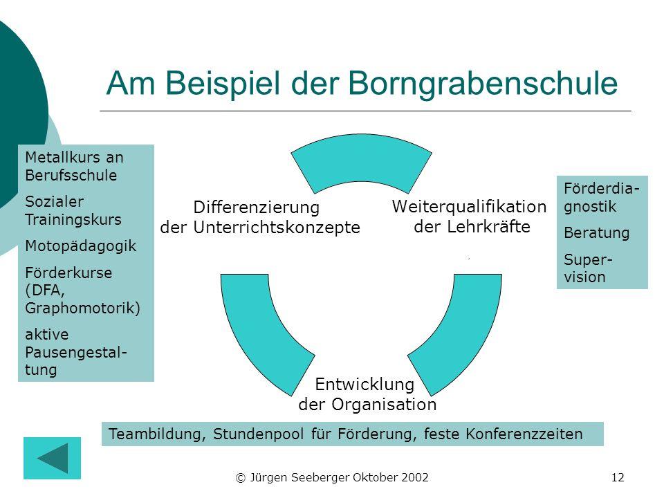 © Jürgen Seeberger Oktober 200212 Am Beispiel der Borngrabenschule Metallkurs an Berufsschule Sozialer Trainingskurs Motopädagogik Förderkurse (DFA, G
