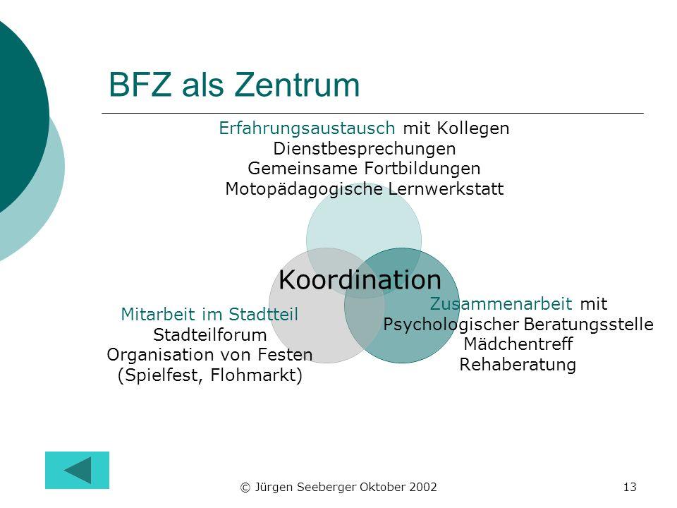 © Jürgen Seeberger Oktober 200213 BFZ als Zentrum Erfahrungsaustausch mit Kollegen Dienstbesprechungen Gemeinsame Fortbildungen Motopädagogische Lernw