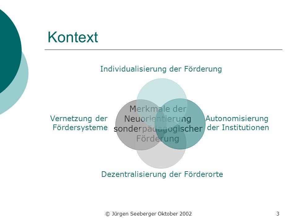 © Jürgen Seeberger Oktober 20023 Kontext Merkmale der Neuorientierung sonderpädagogischer Förderung Individualisierung der Förderung Autonomisierung d