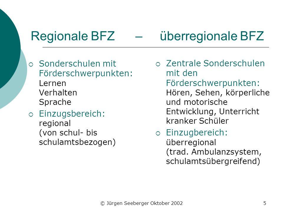 © Jürgen Seeberger Oktober 20025 Regionale BFZ – überregionale BFZ Sonderschulen mit Förderschwerpunkten: Lernen Verhalten Sprache Einzugsbereich: reg