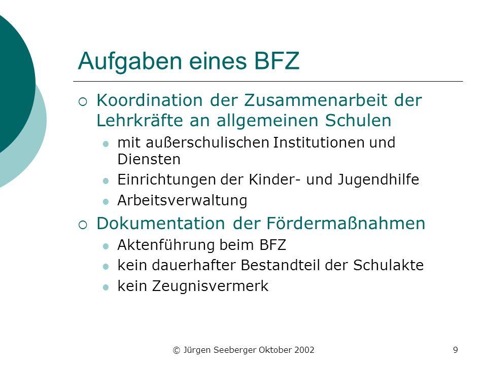 © Jürgen Seeberger Oktober 20029 Aufgaben eines BFZ Koordination der Zusammenarbeit der Lehrkräfte an allgemeinen Schulen mit außerschulischen Institu